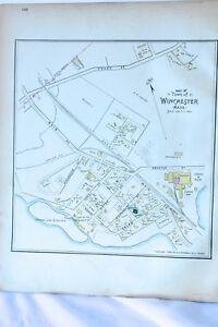 Winchester MA Map 1889 Original Ward Map Antique Street WildwoodEmersonCambr
