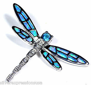 Blue Topaz & Blue Fire Opal Inlay 925 Sterling Silver Dragonfly Pendant Necklace