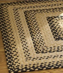 Cornbread Braided Rug by Park Designs Gold Black and Tan 8x10 Foot Cotton