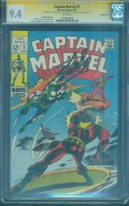 Captain Marvel 9 CGC SS 9.4 Stan Lee Sign Gene Colan Double Cover 1969