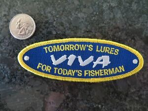 Large Vintage Mint Fishing Patch Viva Lures 4 1 2 x 1 1 2 inch