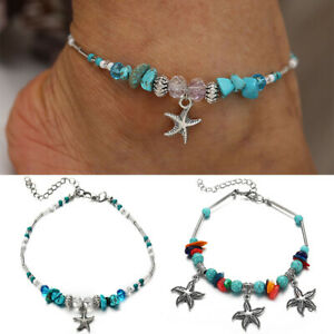 Women Beach Anklet Bracelet Turquoise Beads Starfish Shell Pendant Decor Fashion