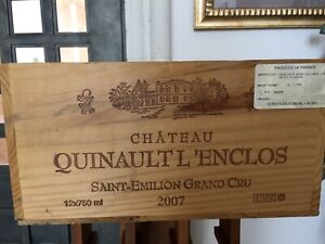 French Chateau Quinaultl Saint Emilio Wood Wine Crate LRG Wooden Box Made France