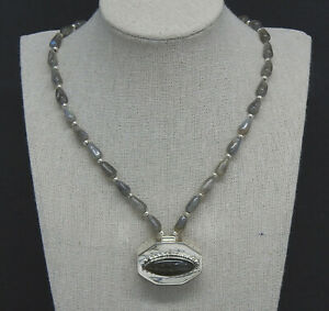 Labradorite Gemstone Bead Necklace with Sterling Silver Pill Box Pendant 18