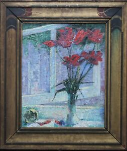 ALFRED WOLMARK 20thC JEWISH ART POST IMPRESSIONIST FLORAL OIL PAINTING TULIPS