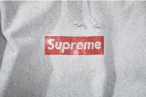 2019 SS19 Supreme x Swarovski Crystal Box Logo Pullover Hooded Sweat Shirt Grey