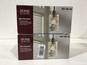 2PK Home Decorators 1-Light Brushed Nickel Mini-Pendant Clear Hammered Glass New