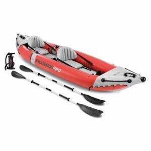 Intex Excursion Pro Inflatable 2 Person Vinyl  Oars & Pump, Red (Open Box)