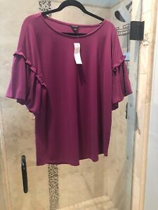 Ann Taylor Ruffle Raspberry Pink Sleeve Large Top Size XL NEW Jersey Blouse
