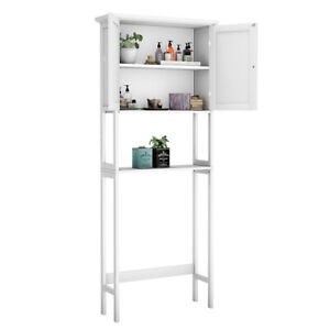 Over The Toilet Bathroom Storage Space Saver with Shelf Collect Cabinet White