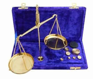 Antique Brass Jewelry Balance Scale with Velvet Box & Complete Weight Decor Gift