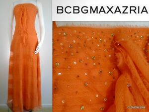 NWT BCBG MAXAZRIA Size 6 Crinkled 100% Silk Corset top  PartyEvening Dress Gown