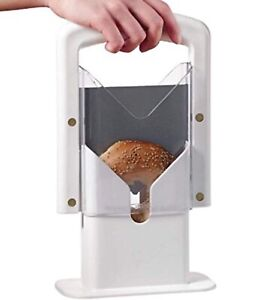 White Plastic and Stainless Steel Bagel Slicer Guillotine High End Koozam