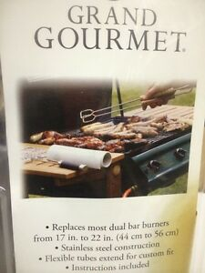 Grand Gourmet Universal Stainless Steel Gas Grill Dual H Bar Burner -17