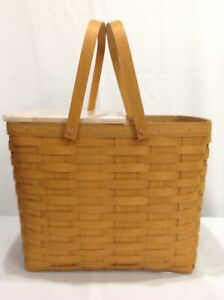 Longaberger WINE & CHEESE Picnic Basket Set +Cutting Board Lid+Protectors+Riser