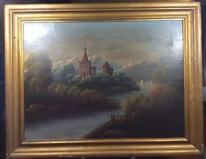 VINTAGE CANVAS ON BOARD PAINTING OF CASTLE AND SHIP WITH A GILT FRAME