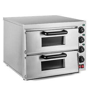 Electric 3000W Pizza Oven Double Deck Commercial Stainless Steel Ceramic Stone