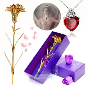 24K Gold Foil Plated Carnation Flower+Crystal Necklace for Morther's Day Gift US