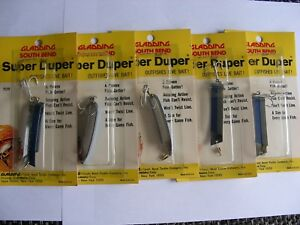 Super Duper Fishing Lures #509  Blu and Silver5 Nice Vintage LuresNew in Box!