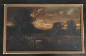 Antique Oil Painting Listed Artist PV BERRY Pastoral Landscape Cows Stream Trees