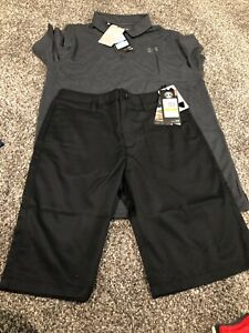 Under Armour Boys Match Play Golf Shorts And Polo Shirt New Size 14 Y XL $75