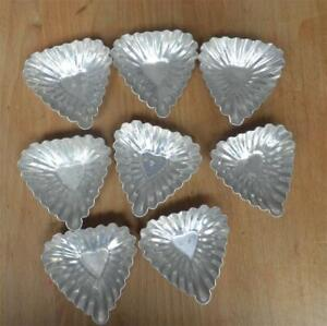 EIGHT 8 MOLDS Pastry TART Jello Cake Mold Vintage  Individual  HEART or TRIANGLE