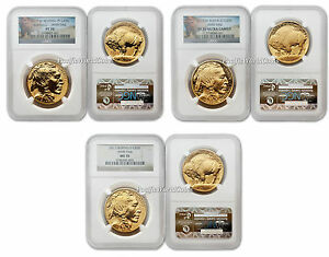 USA 2013 Buffalo 100th Anni. of the design 3pc Gold NGC Highest Grade 70 Set