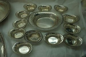ANTIQUE STERLING SILVER NUT DISH SET BON BON 13PC RETICULATED PIERCED MONO D
