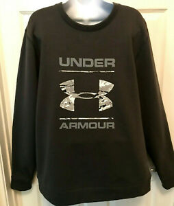 Under Armour Mens Size Large Sweatshirt Loose Fit Gray With Camo Logo NWT