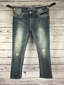 Paisley Sky Embellished Pockets Women's Distressed Jeans Size 6, Measures 30x25