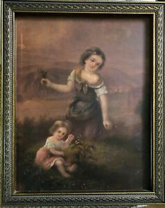 Antique Victorian Oil Painting On Metal Young Woman Little Girl Butterfly Frame $299.00