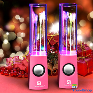 LED Dancing Water Fountain Speakers Mini Portable Music Audio Control Amplifier