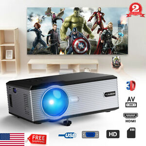 Portable HD 1080P Projector LED LCD Home Theater VGA USB 5000Lumens Video Gmae
