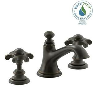 KOHLER Bathroom Faucet 8 In Widespread 2 Handle Oil Rubbed Bronze Prong Handles