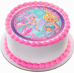 EDIBLE Barbie Mermaids Birthday Wafer Personalized Cake Topper 7.5quot; uncut