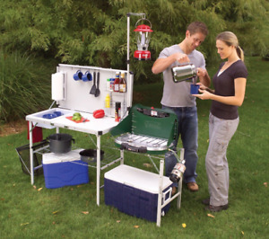 Camp Kitchen Sink Portable Folding Cupboard Table Outdoor Workstation Coleman