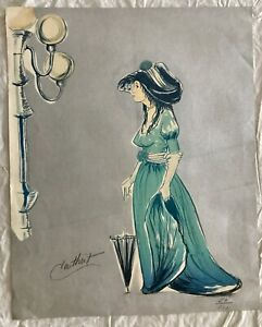 VINTAGE ART NOUVEAU VICTORIAN PAINTING ART PRINT HAND SIGNED BY CATHIST LIMITED $149.00