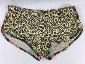 Mossimo Women Size S Workout Shorts Brown Yellow Floral Athletic Running