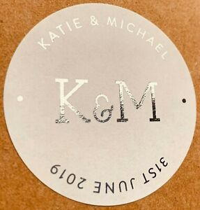 45MM WHITE ROUND PERSONALISED SILVER FOIL WEDDING LOGO LABELS STICKERS
