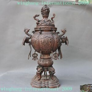 old Chinese bronze temple Dragon phoenix bird fish statue Incense burner Censer