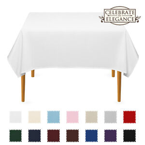 Square Wedding Banquet Polyester Fabric Tablecloth Many Colors