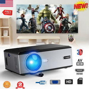 5000 Lumens 1080P LCD Projector Home Movie Theater Support VGA USB AV SD TV US