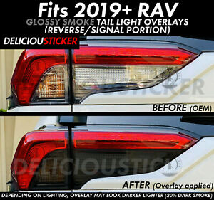 Fit 19 2020 RAV4 SMOKE Rear Tail Light Signal Reverse Overlays PreCut Vinyl Tint