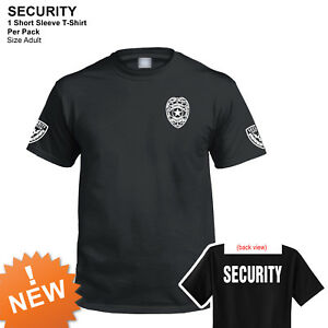 Security T-shirt short sleeves black 100% cotton new Security Officer Shirt SALE