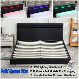 Full Queen Modern Bedroom Platform Bed Designer Frame Headboard LED Light Black