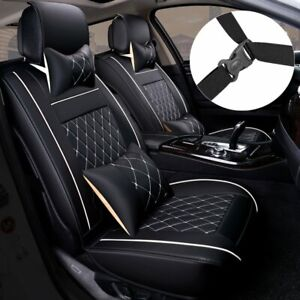 PU Leather 5-Seats SUV Front & Rear Car Seat Cover Cushion Full Set Universal