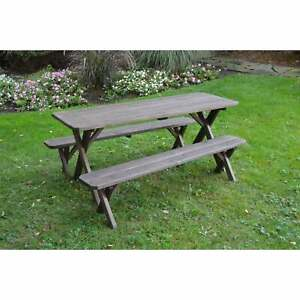 Cross Leg Picnic Table wDetached Benches - Pressure Treated Pine in Walnut