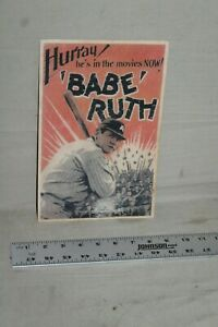 SCARCE 1930s BABE RUTH IN MOVIES NOW HURRAY MOVIE LOBBY CARD SIGN CINEMA TV