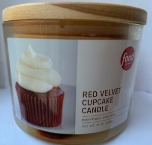 The Food Network RED VELVET CUPCAKE Candle Oven Fresh Large Glass Jar 16oz UGLY
