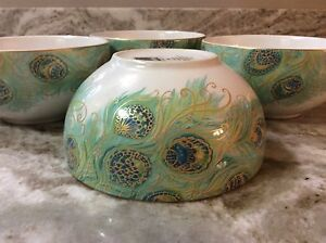 Lakshmi Peacock Soup, Cereal Bowls By 222 Fifth. Beautiful. Porcelain. New.
